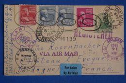 D28 USA CARTE  CENSUREE RARE 1945 DETROIT .MIAMI.NEW YORK . FRANCE CHATEAU L EVEQUE + TEMOIGNAGE - Etats-Unis