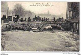 Carte Postale 77. Meaux  Inondation  1910 Pont Du Marché Trés Beau Plan - Meaux