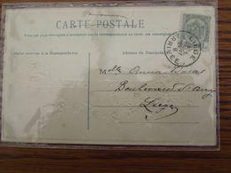 N° 81 Sur Carte Fantaisie Oblitérée Par Erreur (ou Omission Au Départ) LIEGE ARRIVEE En 1908 - Postmark Collection
