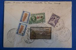 D33 GRECE RARE LETTRE 1932 DEPUIS LE  SOUS MARIN REDOUTABLE .PAR AVION A PARIS+ VIGNETTE - Grèce