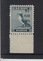 #02 Great Britain Lundy Island Puffin Stamp 1950 BY AIR Narrow O/pr Cat #71e 2p 1/2 Price 20/7-27/7 - Emissione Locali