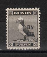 #12 Great Britain Lundy Island Puffin Stamp 1950 BY AIR Narrow O/pr Cat #72 3p 1/2 Price 20/7-27/7 - Emissione Locali