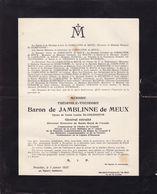 VERSAILLES BRUXELLES Baron De JAMBLINNE De MEUX Théophile Général Retraité Directeur Musée De L'Armée 1926 Déchiré - Avvisi Di Necrologio