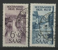 SARRE N° 245 + 247 COTE 74 € OBLITERES AU PROFIT DES VICTIMES DE L'INONDATION DE JANVIER 1947 - Gebraucht