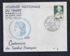 Enveloppe Locale Journée Du Timbre 1949 Marseille Draim Centenaire Du Timbre Francais - ....-1949
