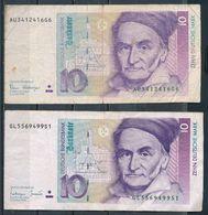 °°° GERMANY - 10 MARK 1989/1993 °°° - [ 7] 1949-… : RFD - Rep. Fed. Duitsland