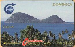 Dominica - DOM-3C, GPT, 3CDMC, Lake, 40 EC$, % 2,500ex, 1990, Used - Dominica