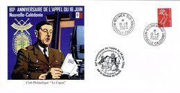 Nouvelle Caledonie Caledonia Enveloppe Commemorative Appel 18 Juin General De Gaulle Cagou 2020 Neuve Unc TB - Nouvelle-Calédonie