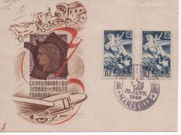 Carte Centenaire Du Timbre Poste Français - 10 Janv. 1949 - MARSEILLE - Bolli Commemorativi
