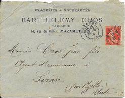 1914  Sur Enveloppe DRAPERIES & NOUVEAUTES - BARTHELEMY CROS - Tailleur - 04, Rue Des Cordes MAZAMET - Brieven En Documenten
