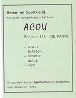 Orig. Knipsel Coupure Tijdschrift Magazine - Pub Reclame - Kledij Heren - Acou  - De Panne - 1969 - Werbung