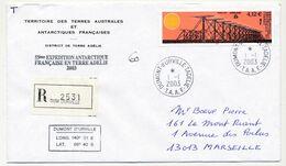 TAAF - Env. Affr 4,12 Super Darn - Dumont D'Urville T.Adélie - 1/1/2003 + 53eme Expédition (recommandée) - Lettres & Documents