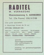 Orig. Knipsel Coupure Tijdschrift - Pub Reclame - TV's Raditel - M. Verhaeghe - De Panne - 1969 - Werbung