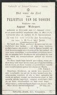 Ertvelde, 1924, Felicitas Van De Voorde, Welvaert - Images Religieuses