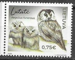 LITHUANIA, 2020, MNH, BIRDS, OWLS,1v - Owls