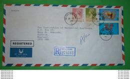 HONGKONG - R- Brief Registered Cover (ks) 90 C + 517 III Queen + 583-584 Jahr Des Pferdes (2 Foto)(33957) - Hong Kong (...-1997)