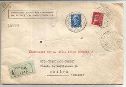 ITALIA 35C +5 LIRE LETTERA REC ASSICURATO ROMA 1931 TO SUISSE MINISTERO POPOLARE - Marcofilía