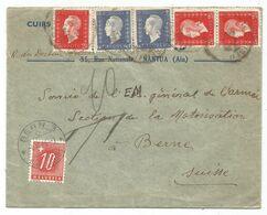 DULAC 2FR40X3+60CX2 LETTRE ?? ENTETE NANTUA AIN 1946 POUR SUISSE TAXE 10C BERNE - 1944-45 Marianne De Dulac