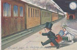 Illustr. COLOMBO . Couple De Jeunes Mariés (enfants) Prenant Le Train - Colombo, E.