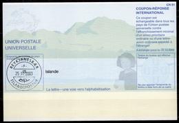 ISLANDE / ICELAND Pe31 20011204 AA International Reply Coupon Reponse Antwortschein IAS IRC o REYKJANESBAER 25.11.03 - Enteros Postales