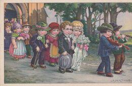 Illustr. A.BERTIGLIA . Mariage/ Noce (enfants) Sortie D'église - Bertiglia, A.