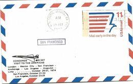"""246 - 64 - Entier Postal """"Concorde Visit To The Americas - San Francisco 1974"""" - Concorde"""