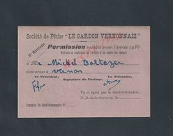 PÊCHE CARTE PERMISSION SOCIÉTÉ DE PÊCHE LE GARDON  VERNONAIS 1936 VERNON : - Fishing