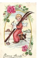 ENFANTS - LITTLE GIRL - MAEDCHEN - Jolie Carte Fantaisie  Fillette Ski - Children's Drawings