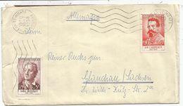 SURTAXE 20FR CARPEAUX+15FR DIDEROT LETTRE ST JEAN DE MONT VENDEE 19.7.1958 POUR ALLEMAGNE    AU TARIF - Poststempel (Briefe)