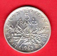 -- MONNAIE / 5 FRANCS ARGENT 1963 -- - J. 5 Franchi
