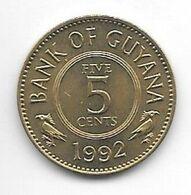 *guyana 5 Cents 1992 Km 32 Bu/ms65 - Guyana