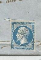 N°14 BELLES MARGES PLI ARCHIVE PC 4247 THORENS SALLES 1862 Haute Savoie INDICE 22  RARE - Poststempel (Einzelmarken)