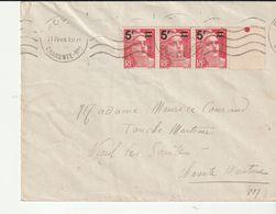 Lettre Royan Avec Bande De 3 Gandon Surchargées N°827, 1949 - Cartas