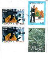 SAN MARINO 2002 2004 2005 - CARNEVALE - UNIFORMI - FLORA - 4 VALORI SU FRAMMENTO - Saint-Marin