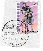 SAN MARINO 2003 - COPPA DEL MONDO DI RUGBY - 1 VALORE USATO SU FRAMMENTO - San Marino