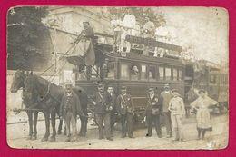 Carte Photo Transports - Chemin De Fer - Tramway Hippomobile De La Ligne Montreuil - Châtelet - Tramways