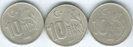 Turkey - 10 Bin Lira - 1995 (KM1027.1) 1997 (KM1027.2) & 1998 (KM1027.3) - Turquie