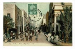 Sfax - Rue De La République ( Commerces, Animation) Circulé 1909, Colorisé - Tunisia