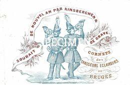 Porceleinkaart Souhait De Nouvel An Par Kinsberchen & De Grave - Cornets Des Chasseurs Eclaireurs - Brugge - 7 X10.5 Cm - Brugge