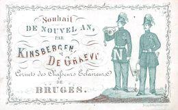 Porceleinkaart Souhait De Nouvel An Par Kinsbergen & De Graeve - Cornets Des Chasseurs Eclaireurs - Brugge - 6 X10 Cm - Brugge