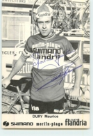 Maurice DURY , Autographe Manuscrit, Dédicace . 2 Scans. Cyclisme. Shimano Merlin Plage Flandria 1974 - Wielrennen