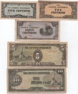Philippines Japonaises : Série De 5 Billets 5-10-50 Centavos + 5-10 Pesos ND (Guerre Mondiale II) : état Varié - Japon