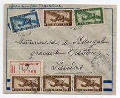 Indochine-1937--Lettre Recommandée De SAIGON  Pour GRENADE / ADOUR-40 (France)..timbre (avions),cachet - Lettres & Documents