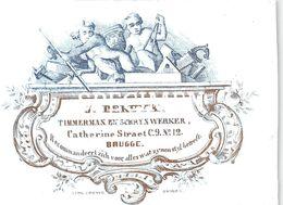 Porceleinkaart J. De Ruyck Timmerman En Schrijnwerker Catherine Straat -  Brugge - 6.5 X 8.5 Cm - Brugge