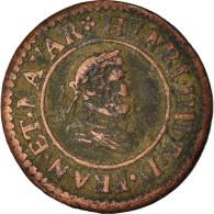 Monnaie, France, Henri IV, Denier Tournois, 1607, Lyon, TB+, Cuivre - 987-1789 Monnaies Royales