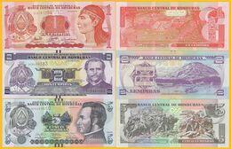 Honduras Set 1, 2, 5 Lempiras 2006-2014 UNC Banknotes - Honduras