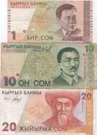 Kirghizstan : Lot De 3 Billets 1-10-20 Tyiyn 1993 : état Courant - Kirghizistan