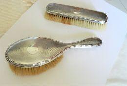 Vintage Silver Hairbrush Two Piece Set - Silverware