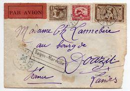 Indochine-1932--Lettre De SAIGON Pour DOAZIT-40 (France)..timbres ,cachet Ambulant--via SAIGON-MARSEILLE - Brieven En Documenten