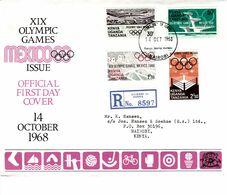 KUT 1968 MEXICO OLYMPIC REGISTERED FDC COVER - Kenya, Uganda & Tanganyika